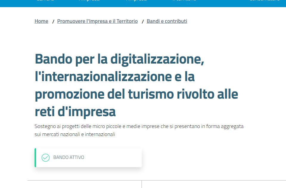 Bando digitalizzazione, internazionalizzazione e promozione del turismo della CCIAA Umbria